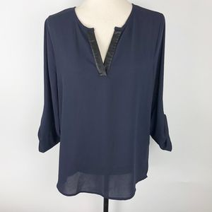 Anthro 41 Hawthorn Navy Pleather Split V Blouse